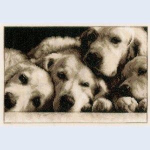 """Labradors"": kruissteekpakket met telpatroon, om zelf te maken"