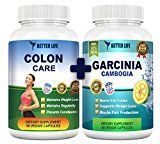 Pure Garcinia Cambogia Extract & Colon Care Combo! Best Weight Loss Supplements  Body Detox  Healthy Digestive System  100% Natural Appetite Suppresant  1600mg 60% HCA per serving Reviews