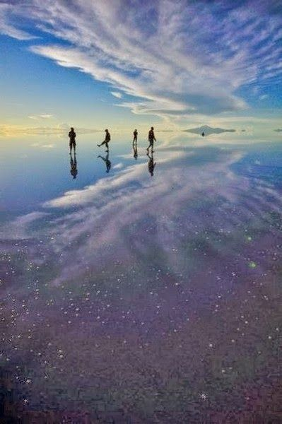 Bolivia's salt flats containing the vastness of the sky in a comparatively small puddle!! Earth's equivalent of a keyhole view of the universe..