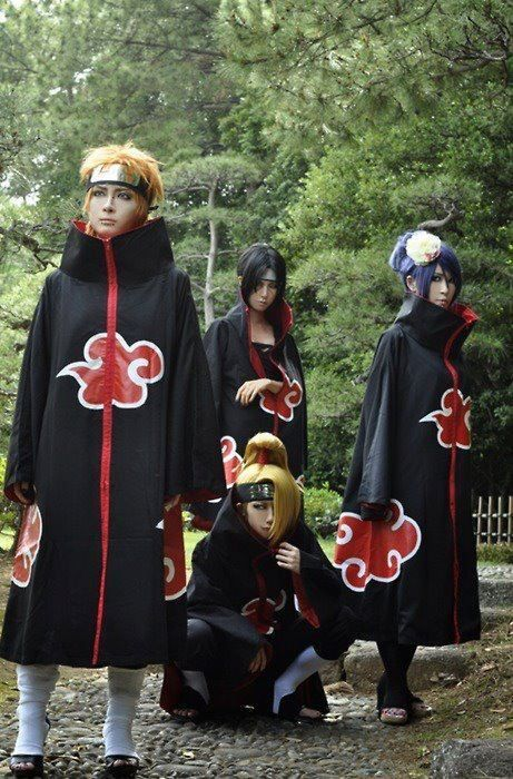 Naruto    Akatsuki they look almost plastic but really nice cosplay