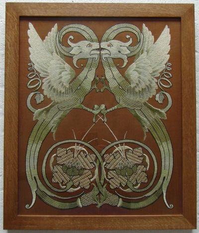 LX_112 Arts & Crafts embroidery depicting mythical birds    Arts & Crafts silk embroidered picture depicting a pair of mythical birds framed in oak  Length 66 cm x Width 55 cm  Circa 1895
