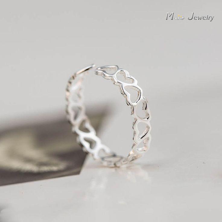 925 Sterling Silver Rings 925 Hollow Heart Open Rings anillo de plata anello