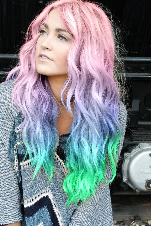 7. Rainbow Ombre - 7 Awesome Pastel Hair Colors to Try out This Summer ... → Hair