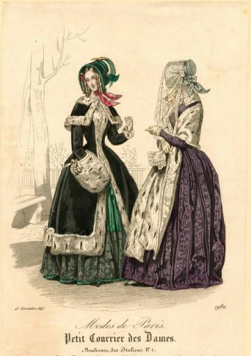 Winter fashions, 25 December 1843, French. Lots of ermine used here. Modes de Paris: Petit Courrier des Dames. From the Claremont Colleges Digital Library.