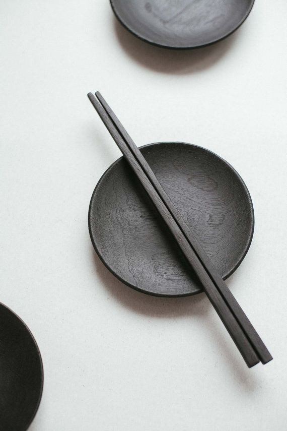 Black sushi set Plate and sticks Japanese sushi by belayahvoya