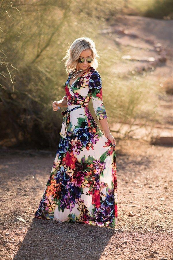 Floral Luxury Maxi Wrap Dress   4 Sizes!                                                                                                                                                                                 More