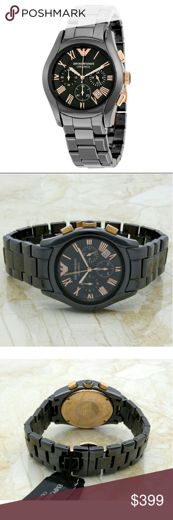 NWT Emporio Armani $599 Ceramica black watch NWT Emporio Armani $599 Ceramica Chronograph Men's Black Stainless Steel Watch  PRICE  $399.00 . AUTHENTIC WATCH  . AUTHENTIC BOX  . AUTHENTIC MANUAL  SHIPPING  PLEASE ALLOW FEW BUSINESS DAYS FOR ME TO SHIPPED IT OFF.I HAVE TO GET IT FROM MY WAREHOUSE.  THANK YOU FOR YOUR UNDERSTANDING Emporio Armani  Accessories Watches