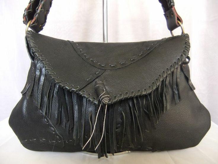 Hand-made Black 100% Thick Hide Leather Shoulder Bag Handbag w ...