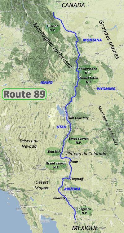 Itinéraire de l'US89