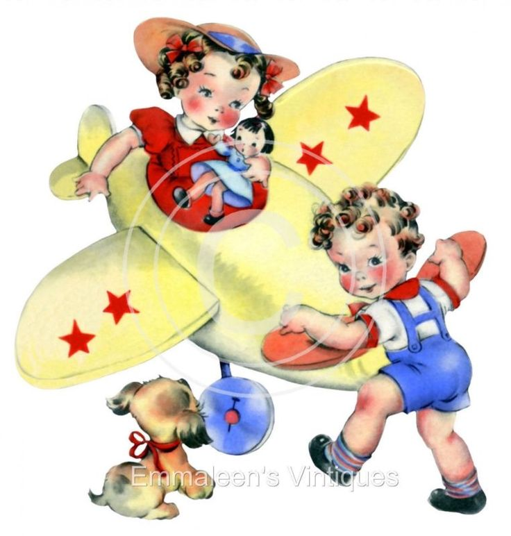 ~Vintage Shabby Retro Little Boy and Girl Flying Plane Waterslide Decals~ KID405