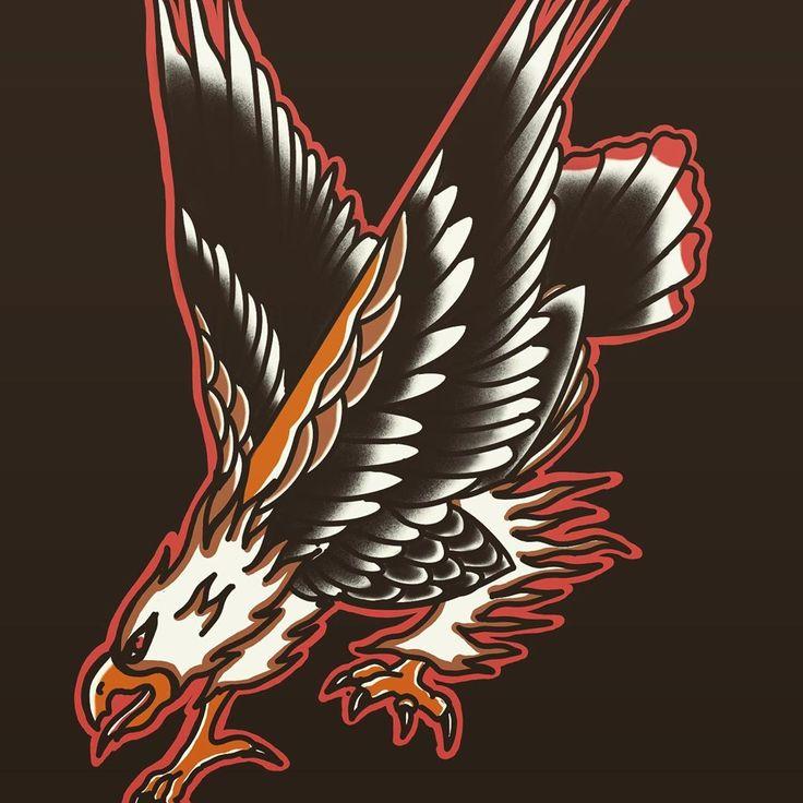 Eagle old school🦅. . . . . # oldschooltattoo #newschooltattoo #tattoo #tattoos …