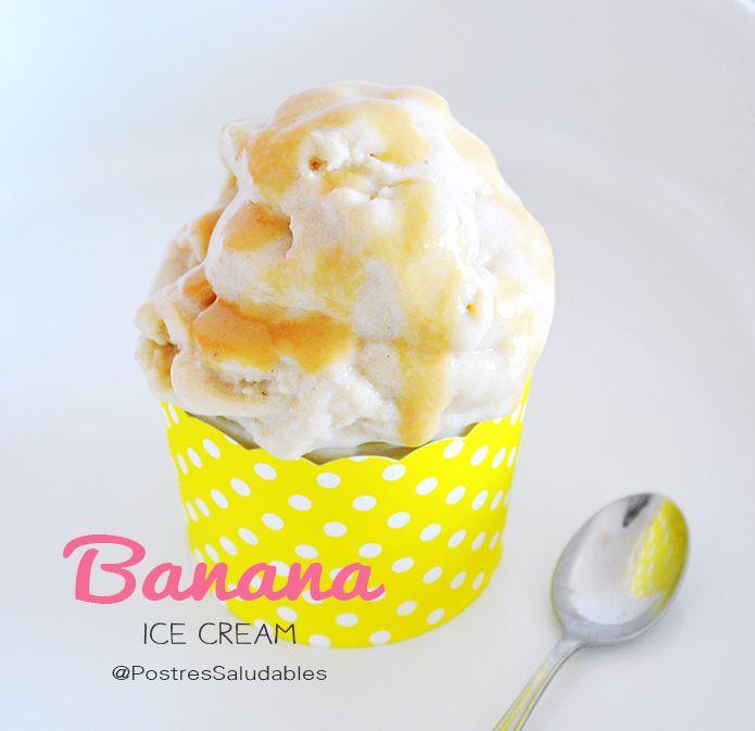 Postres Saludables | Helado de Banano con dulce de leche saludable | http://www.postressaludables.com