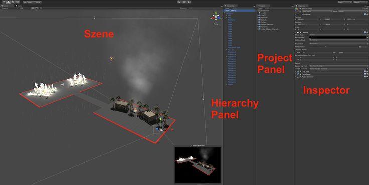 Im Hierarchy Panel befinden sich sämtliche Objekte die man in der Unity 3D Szene hat. Das Project Panel ist die Ablage für alles was wir importieren. Egal ob Bilder, 3D Modelle oder Prefabs, alles landet hier. Das Project Panel ist quasi der Unity 3D Baukasten. Mit dem Unity Inspector regelt man sämtliche Einstellungen für die Objekte.  http://iffcom.de/de/erstelle-shooting-games-mit-der-unity-software-willkommen/