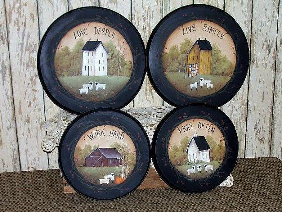 Stove Burner Covers Saltbox Hand painted  Primitive Folk Art Home Kitchen Decor OFG