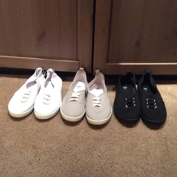 3 pairs of h m canvas shoes size 9 athletic shoe tags