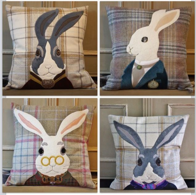 handmade tweed animal cushions, cotswolds