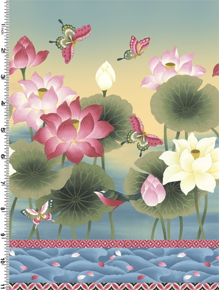 Sanctuary Collection in Blue and Pink Border print by Kona Bay