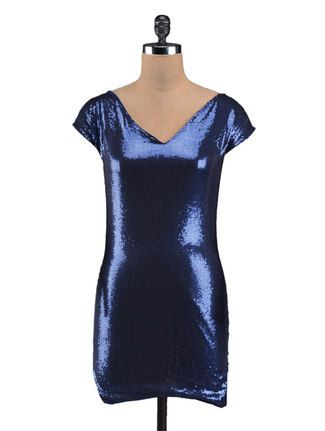 Buy Guster Ve.. Blue Bling Sequined Party Dress Online, , LimeRoad