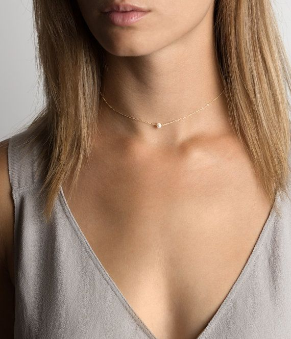 Dainty Pearl Choker Necklace Tiny Pearl by LayeredAndLong on Etsy                                                                                                                                                                                 More
