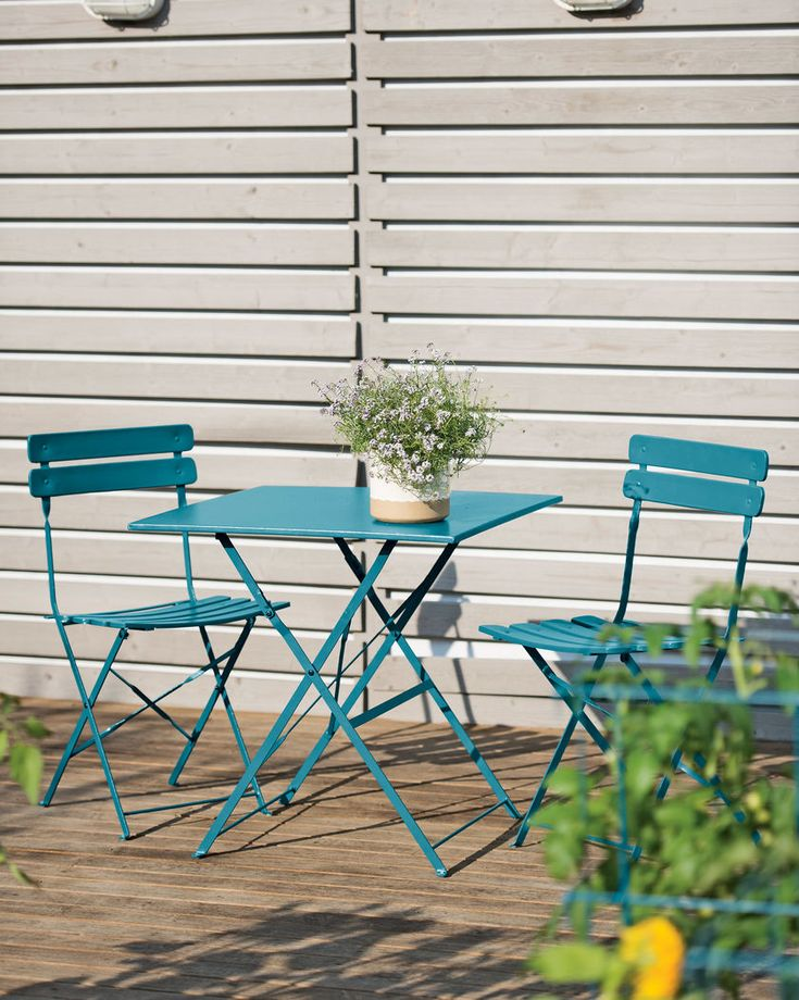 Folding Bistro Patio Set in Storm Blue - $299    I should  paint my yellow round set this color or a bright lime green.