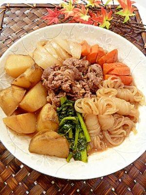 """Nourishing♥Niku-jaga with☀many dried vegetables""/干し野菜で作る☀色々野菜の「栄養満点♥肉じゃが」"