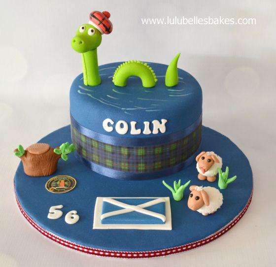 "Loch Ness ""McEwan"" Scottish themed cake"