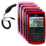 Cbus Wireless Five Silicone Cases / Skins / Covers (Light Pink, Hot Pink, Orange, Purple, Red) & Car Charger for Nokia X2 / X2-01 (Wireless Phone Accessory)  #Nokia