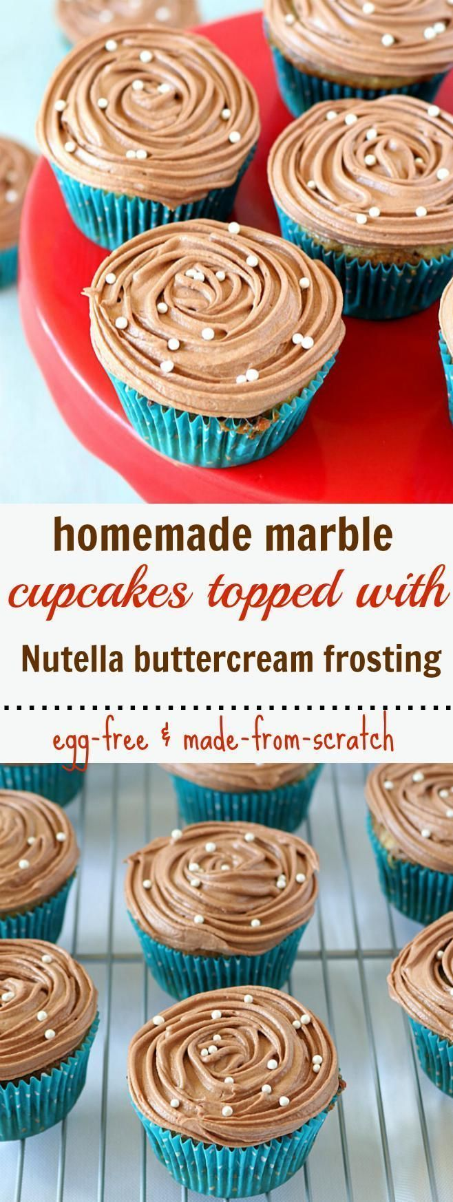 Eggless Marble Cupcakes topped with homemade nutella buttercream frosting is a true indulgence. Perfectly sweet, tender and super moist in every bite.