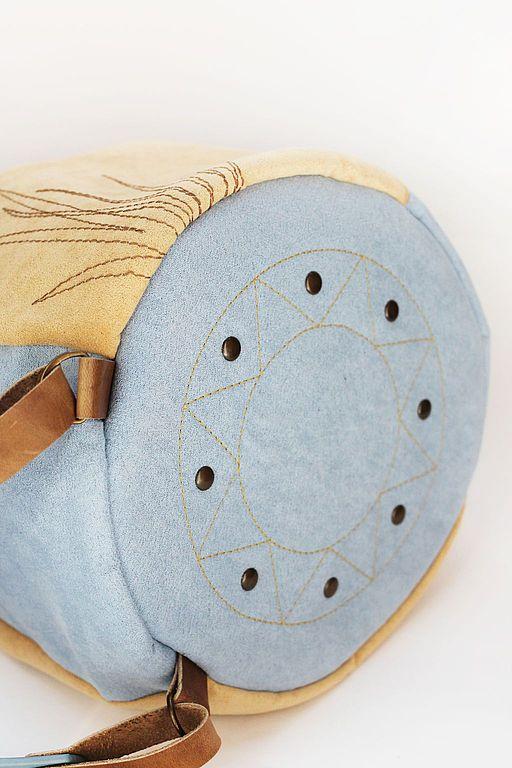"""Купить Женский рюкзак """"Ящерка"""" - голубой, сумка женская, женская сумка, женский рюкзак, рюкзак"""
