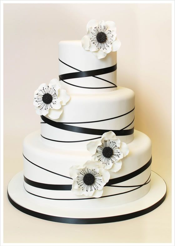 A black and white anemone wedding cake by Cake Sweet Food Chicago.