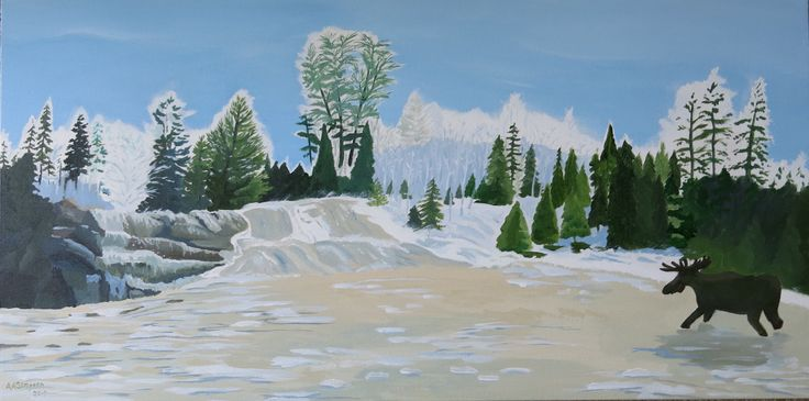 """Marsh's Falls, Oxtongue River. Painted in acrylic on canvas, it measures 18"""" x 36"""" on a wrap around canvas. No frame. The Oxtongue River flows into Lake of Bays in Ontario's Muskoka district. The property belongs to the heritage fund of the Lake of Bays Association. 2017"""
