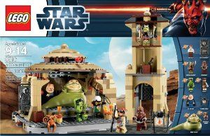 """LEGO Star Wars 9516 Jabba's Palace by LEGO. $92.99. Jabba the Hutt features poseable head, body and arms. Also includes Han Solo in carbonite, handcuffs and Jabba's water pipe. Jabba's Palace measures over 9"""" (25cm) high, 11"""" (29cm) wide and 7"""" (19cm) deep. Features sliding throne with trap door and hidden treasure, entrance gate with movable guns, flick missile on detachable roof and detachable watchtower. Weapons include medium blaster, blaster pistol, blaster rifl..."""