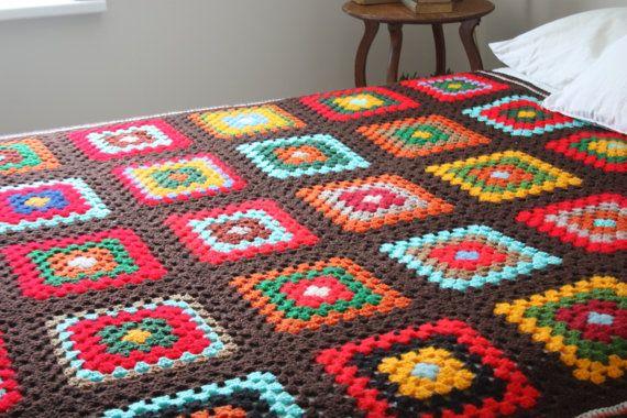 Vintage Granny Square Afghan Handmade Crochet by Swhirlingdervish