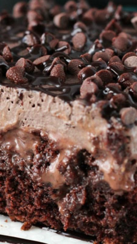 Chocolate Poke Cake ~ SO chocolatey! So moist... Out of this world amazing