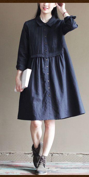 Cute navy linen dress. Vintage blue linen summer dresses oversize casual maternity sundress