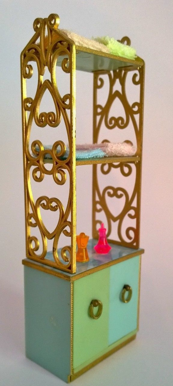 Ideal Petite Princess Doll House Bathroom Towel Cabinet Rack 1960s Very | eBay