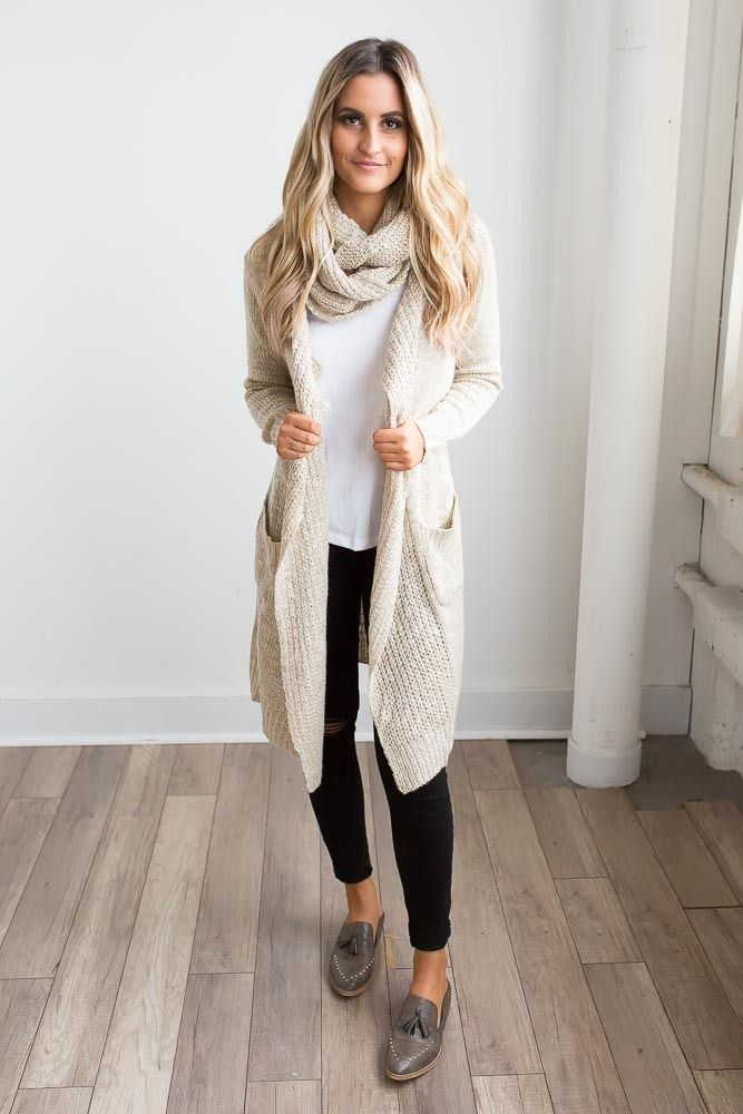 Shop our Two Tone Scarf Cardigan in Beige Multi. Pair with skinny jeans and booties for a chic fall look. Always free shipping on all US orders.