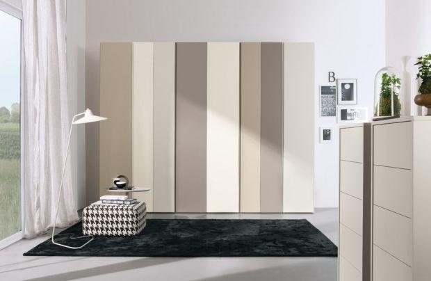 Schlafzimmer Einrichtungsideen-Beige-Weiß Cremeweiß-Streifen - schlafzimmer einrichten beige