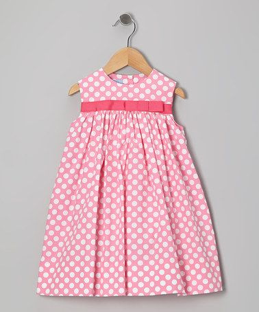 Look at this #zulilyfind! Pink Polka Dot Bow Float Dress - Infant & Toddler by Monday's Child #zulilyfinds
