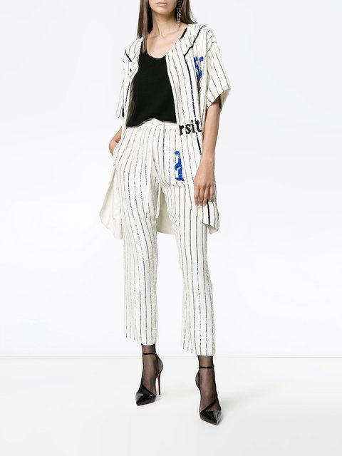 Ashish Striped Sequin Embellished Track Pants