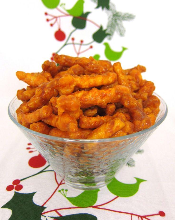 Caramel Cheetos (Ingredients: Light Brown Sugar, MArgarine or Butter, Light Corn Syrup, Baking Soday & Cheetos-Crunchy.) | Plain Chicken