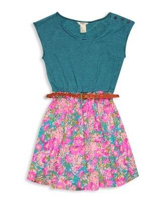 Floral Striped Combo Dress | FOREVER21 girls - 2000045700