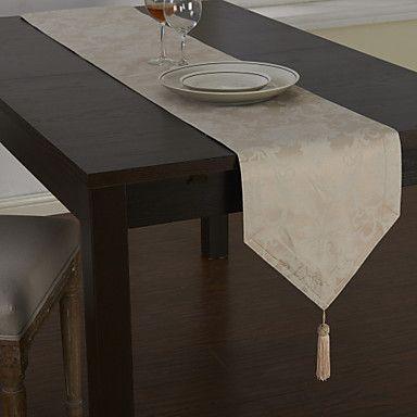 Clásico poliéster mezcla de algodón jacquard caminos de mesa florales – EUR € 16.49