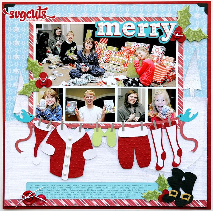 Merry Layout by Jana Eubank | SVGCuts.com Blog, love Jana's pages...always a great idea...