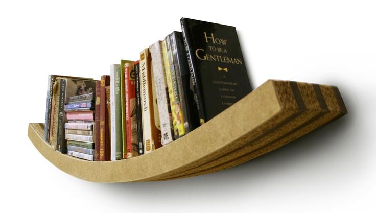 corrugated cardboard bookshelf