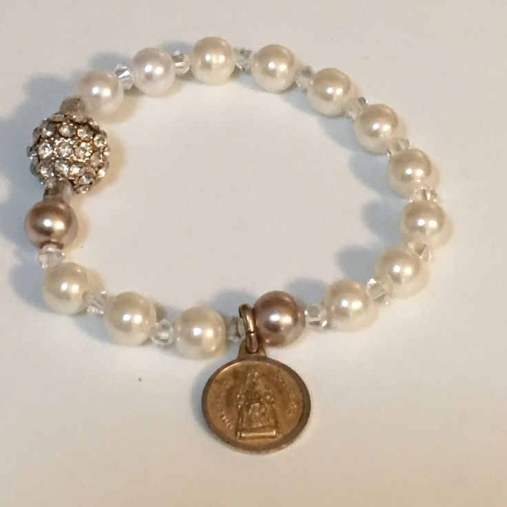 Rosary Stretch Bracelet with Blessed Mother Virgin of Seville Sevilla Nuestra Señora de los Reyes Religious Medal by littlejoesattic on Etsy