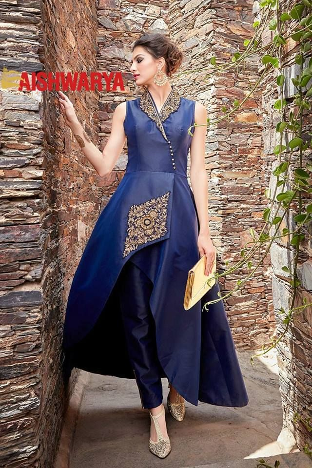 Make a stunning impact as you dress in this uber stylish dark blue designer suit. Buy Suit online - http://www.aishwaryadesignstudio.com/fascinating-blue-designer-suit-with-stone