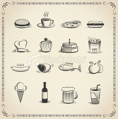 Food vintage icon set - Royalty Free Stock Vector Art Illustration
