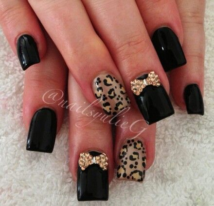 Black & Animal Print Nails with Bows