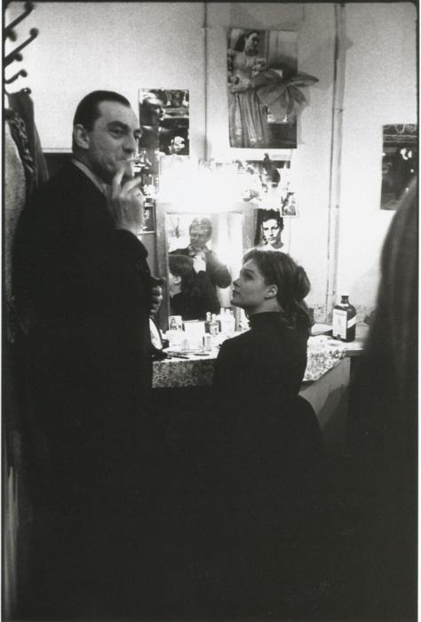 Romy Schneider with Luchino Visconti by Giancarlo Botti in Theatre de Paris, 1961